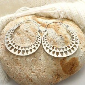 New, BOHO gold hollow triangle hoop earrings